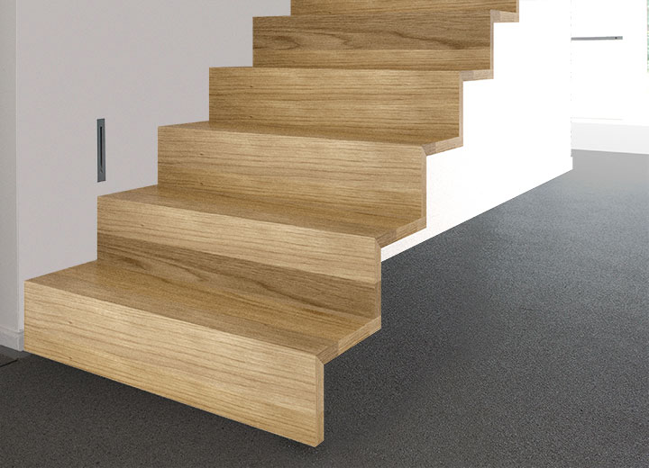 Zwevende trap met rechte treden